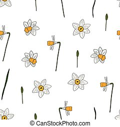 Seamless narcissus pattern.