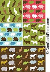 Seamless natural animal pattern, animal texture fabric set