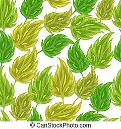 Seamless nature pattern with stylized green leaves. Background for textile printing and packaging paper
