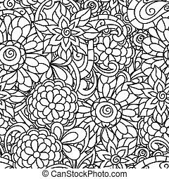 seamless, natureza, padrão, com, linha, flores, para, adulto, coloração, página, imprimindo, e, desenho