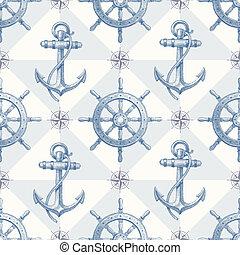 Seamless nautical background - Vector seamless nautical...