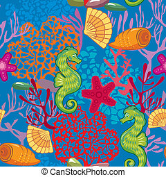 Seamless nautical pattern on blue background with sea horses, fishes, sea stars, shells, coral reef. Ready to use as swatch.