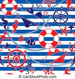Seamless nautical pattern on stripe