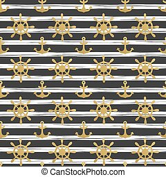 Seamless nautical pattern with golden anchors and ship wheels on white black striped background. Design element for wallpapers, birthday card, scrapbooking, fabric print etc. Vector illustration