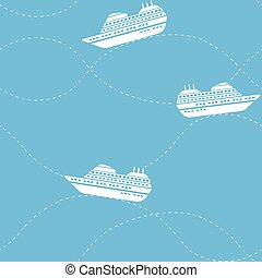 Seamless nautical pattern with ships