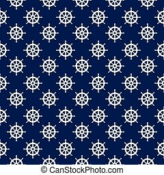 Seamless nautical pattern with steering wheels.