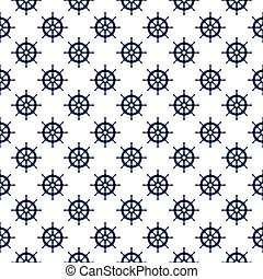 Seamless nautical pattern with steering wheels