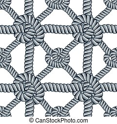 Seamless nautical rope pattern vector. Endless navy illustration with loop cord lines ornament. Endless navy illustration with fishing net ornament and marine knots. Usable for fabric, wallpaper, wrapping, web and print.