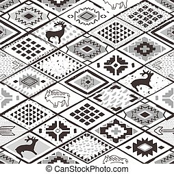 Seamless navajo pattern with rhombus. Pencil Drawing