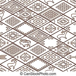 Seamless navajo pattern with rhombus. Line vector art