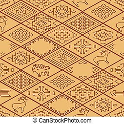 Seamless navajo pattern with rhombus. Line vector