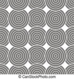seamless, negro y blanco, círculos concéntricos, patrón