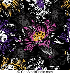 Seamless neon floral pattern on black background