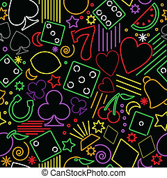 seamless, neon, geluksspelletjes, achtergrond