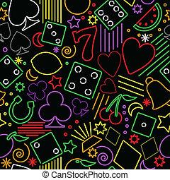 seamless, neon, gluecksspiel, hintergrund