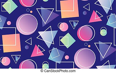Seamless neon pattern in the memphis style with geometric shapes on purple background.