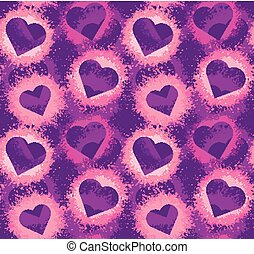 Seamless neon pattern with hearts and pink watercolor splashes on violet background. Vector texture