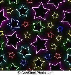 Seamless neon stars background