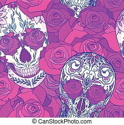 Seamless neon texture with sugar skulls and roses. The day of the Dead.