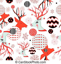 Seamless New Year pattern with portraits of deer