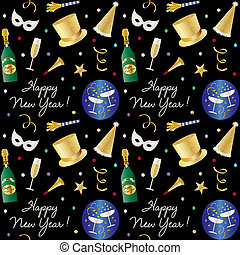 seamless new years eve pattern with champagne and party hats