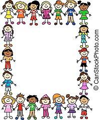 seamless, niños, amistad, patrón, 2