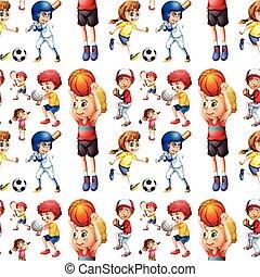 seamless, niños jugar, deportes