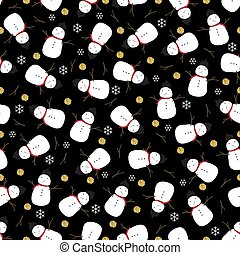 seamless night christmas pattern with snowman and gold glitter snowflake on black background