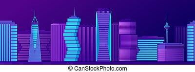 Seamless night modern city neon panorama vector flat ...