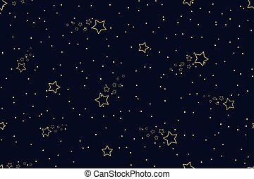 Seamless night sky pattern with shining stars and midnight blue background