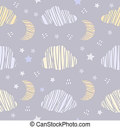 Seamless night sky with clouds and star pattern