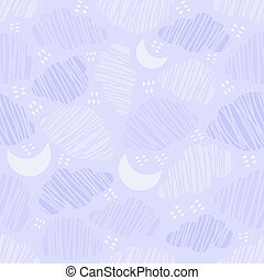 Seamless Night sky with clouds Pattern