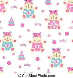 seamless, nijlpaard, baby, model, schattig