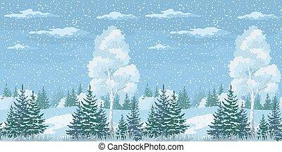 seamless, noël, hiver, forêt, paysage