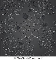 seamless, noir, feuille, dentelle, papier peint