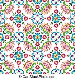 Seamless Norwegian traditional folk art Bunad pattern -...