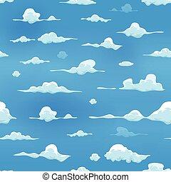 seamless, nubes, en, cielo azul, plano de fondo