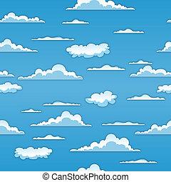 seamless, nubes, plano de fondo