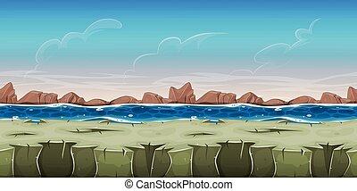 Seamless Ocean Landscape For Game Ui - Illustration of a...