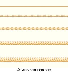 Seamless of brown rope on white background