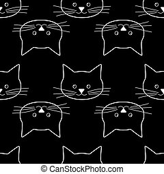 seamless of cat faces