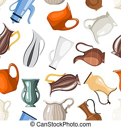 Seamless of colored vases and jugs in cartoon style on a white background collection of vessels for vector illustration