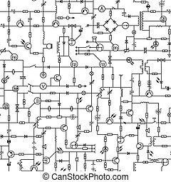Seamless of electrical circuit. - Vector seamless background...