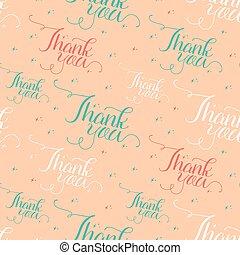 Seamless of handwritten thank you
