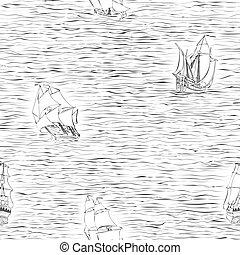 Seamless of sailing ships.