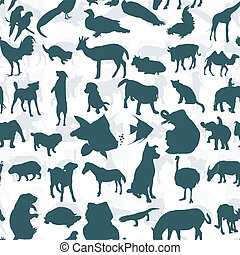 Seamless of silhouette set of animals