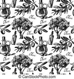 seamless, oliva, vettore, vendemmia, schizzo, pattern., mano, disegnato