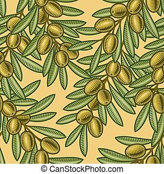 Seamless olive background in woodcut style. Vector illustration with clipping mask.