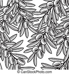 Seamless olive background in woodcut style. Black and white...