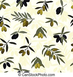 Seamless olives branches pattern with black and green olives